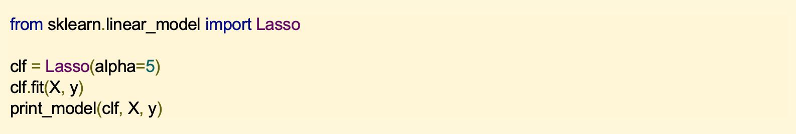 from sklearn.linear_model import Lasso clf = Lasso(alpha=5) clf.fit(X, y) print_model(clf, X, y)