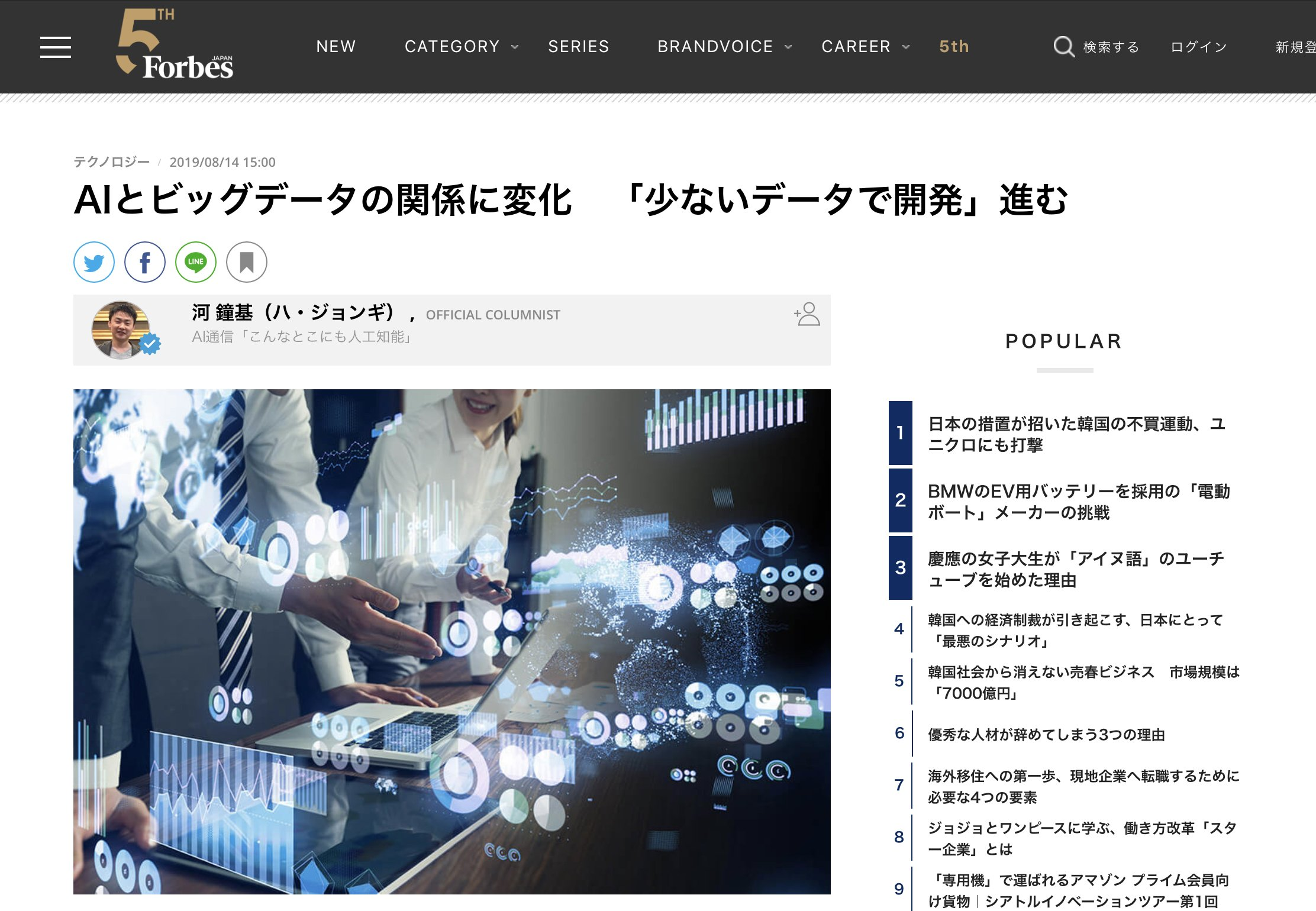 """Hacarus In The News – Forbes Japan """"AIとビッグデータの関係に変化 「少ないデータで開発」進む"""""""