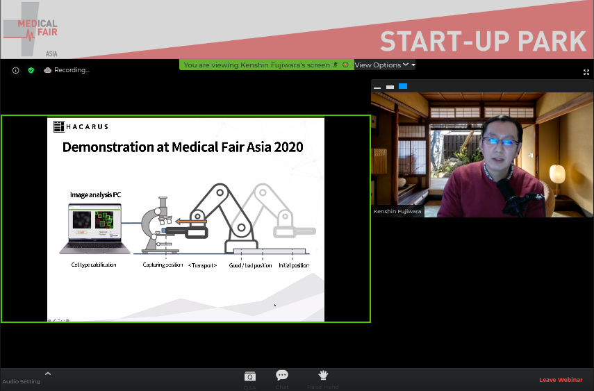 Kenshin Fujiwara, CEO At HACARUS, Has Spoken On December 10, 2020 At Medical Fair Asia
