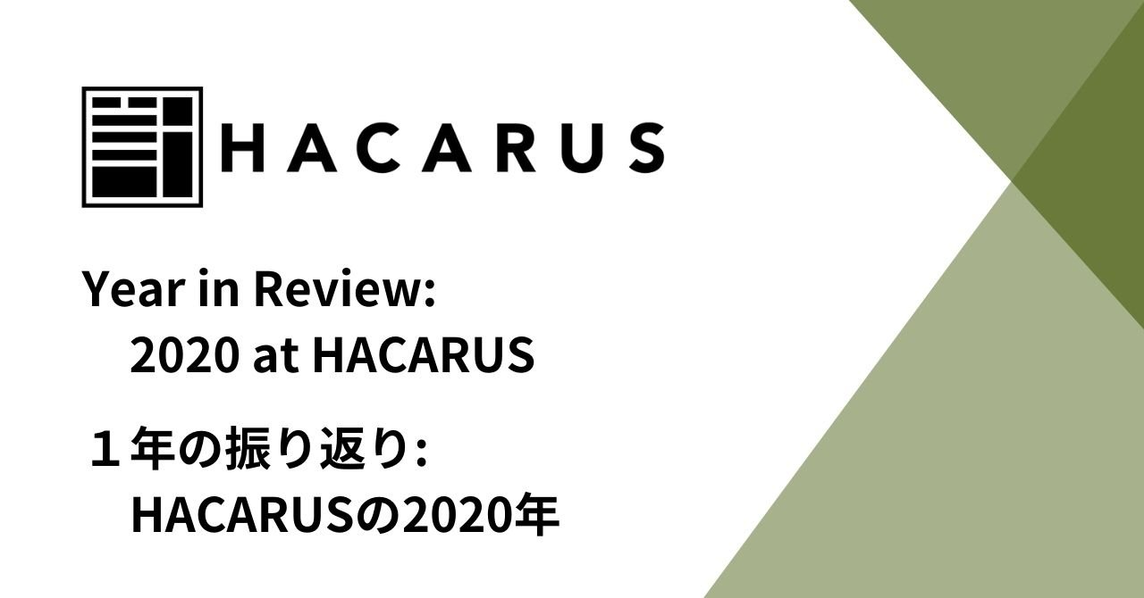 Year In Review: 2020 At HACARUS